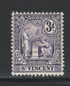 St. Vincent 1907 Peace and Justice 3p Scott # 94 MH