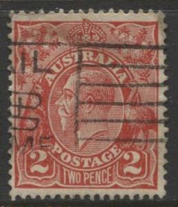 9Australia - Scott 116 - KGV Head -1931 - FU - Wmk 228 - Die I -  2p Stamp2
