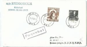 70123 - SWEDEN - POSTAL HISTORY - COVER: PAQUEBOT Ship Mail m/s RYDBOHOLM 1953
