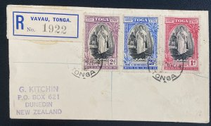 1938 Vavau Tonga Toga Registered Cover to New Zealand Queen Salote Tabou Stamps