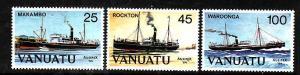 Vanuatu-Sc#377-9-Unused NH set-Ships-Ausipex '84-1984-