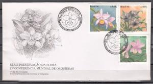 Brazil, Scott cat. 2597-2599. Orchid Conference on a First day cover.