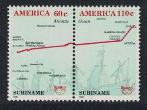Suriname Columbus America Voyages of Discovery 2v Pair SG#1490-1491