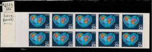 U.S. Scott #2536a BK188 World Love Stamp - Mint NH Booklet of 19 Stamps