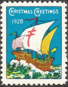 Stamp Label US Christmas Seal 1928 TB Sail Boat Greetings Holiday MNH