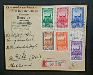 1936 Beaufort Luxembourg To Utrecht Holland Stamp Exposition Registered Cover
