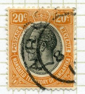 TANGANYIKA;  1927 early  GV issue fine used 20c. value Postmark