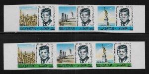 Qatar 119-119A Kennedy strip IMPERF  MNH