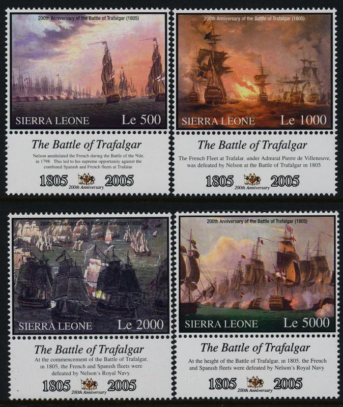 Sierra Leone 2798-801 + labels MNH Battle of Trafalgar, Warships
