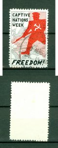 Great Britain. UK. Poster Stamp 1970s.  Freedom Captive Nations Week. Cancel