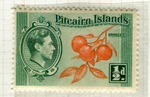 PITCAIRN ISLANDS; 1938 early GVI pictorial issue fine Mint hinged 1/2d. value