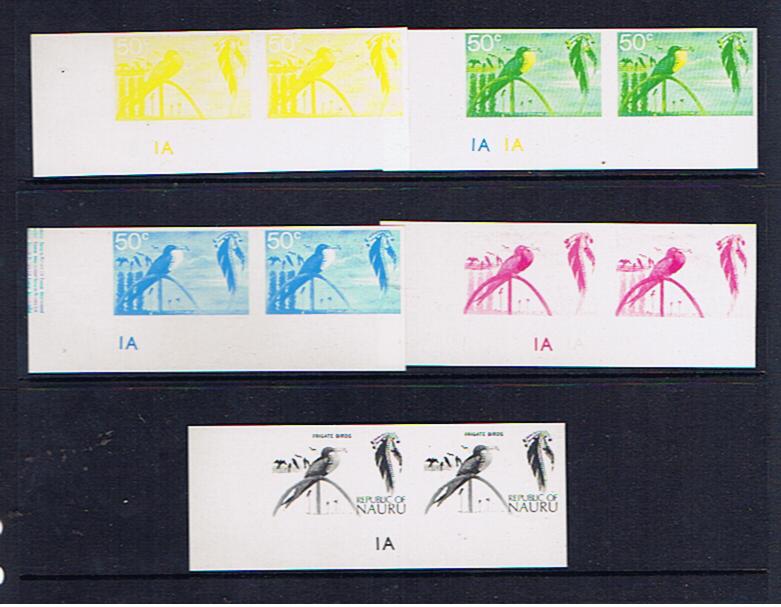 NAURU 1973 FRIGATE BIRD IMPERF PROGRESSIVE PROOFS-PAIRS