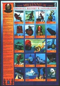 Palau. 2000. small sheet 1798-1814. Millennium, ocean exploration, cousteau, ...