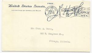 US Stampless Cover United States Senate AJ Hopkins 1908 Signature