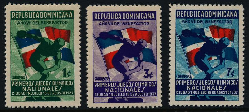 Dominican Republic 326-8 MH Discus Thrower, Flag, National Olympic Games