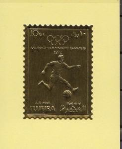 Fujeira, Mi cat. 1404 A. Munich Olympics Gold Foil issue.