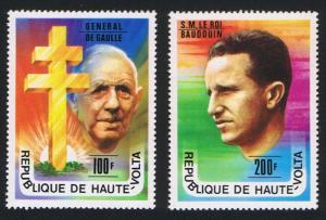 Upper Volta Personalities Gen de Gaulle King Baudouin 2v SG#446-447 SC#434-435