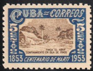 1953 Cuba Stamps Sc 504 Marti El Abra Ranch Isle of Pines MNH