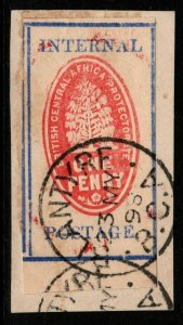 NYASALAND SG56 1898 1d VERMILION & DEEP ULTRAMARINE USED ON PIECE