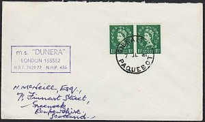 GIBRALTAR 1961 cover, GB stamps, PAQUEBOT cds, MS Dunera cachet.............H317