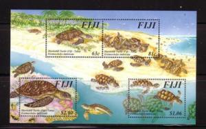 Fiji Sc792 1997 Hawksbill Turtle stamp souvenir sheet