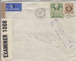 1942, London, England to Porto Alegre, Brazil, Censored, See Remark (C3567)