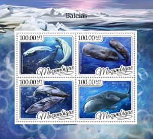 MOZAMBIQUE 2016 SHEET WHALES MARINE LIFE