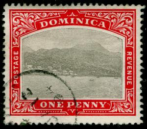 DOMINICA SG28, 1d grey and red, FINE used. WMK CC.
