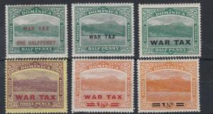 DOMINICA  1916 - 19   WAR TAX  VALUES    MH
