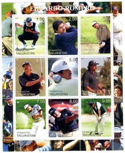 Tadjikistan 2000 Golf Eduardo Romero Sheet Perforated mnh.vf