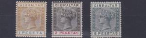 GIBRALTAR  1889 - 96      SG  31 - 33    1P TO 5P VALUES  MH CAT £58