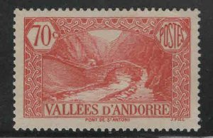 Andorre (French)  Scott 43 MH* 1939 stamp