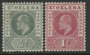 St. Helena 48 & 49 stamps w/crown over CA wmk - Edward VII