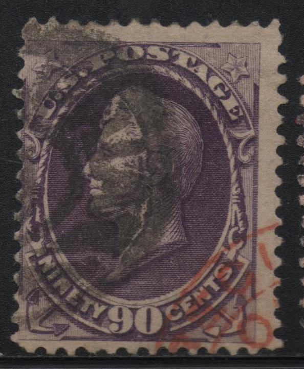 US Scott #218 Perry 90c, Sound Key Value Nice Stamp, Red London Cancel