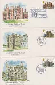 GREAT BRITAIN FDC-LEGENDARY BUILDINGS BRITAIN STAMPS USED  LOT#152,152A
