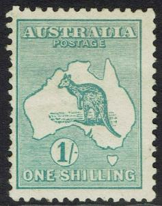 AUSTRALIA 1913 KANGAROO 1/- BLUE GREEN 1ST WMK