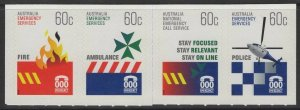 AUSTRALIA SG3445/8 2010 EMERGENCY SERVICES SELF ADHESIVES FROM BOOKLET PANE MNH