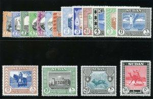 Sudan 1951 Definitive Issue set complete superb MNH. SG 123-139. Sc 98-114.