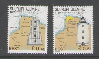 Estonia Sc 641-2 2010 lighthouse stamps mint NH