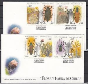 Chile, 1140 A-H. Insects and Cacti issue on 2 First Day Covers.