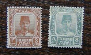 Trengganu 1921 - 1941 3 c Brown 8c Grey MM
