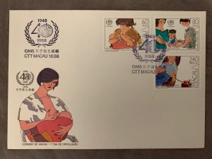 Macau FDC: 1988 WHO, health. Scott 565-567 unaddressed first day cover