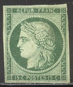 FRANCE #2 RARE Unused w/Cert - 1849 15c Green