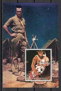 Turkmenistan, 2000 Russian Local. N. Rockwell`s Scout Illustration s/sheet.