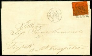 EDW1949SELL : ITALIAN STATES Roman States Nice 1870 folded letter franked w/ #22