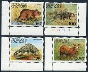 Gabon 581-584,584a,MNH.Mi 930-31,Bl.52.Aulacode,Porcupine,Pangolin,Antelope,1985