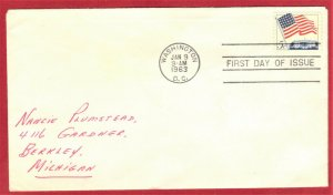 FDC SC# 1208,  FLAG OVER WHITEHOUSE 5c  1963 (48)  SEE SCAN