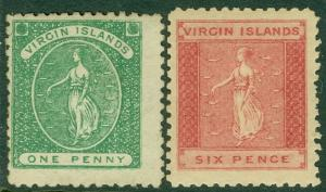 EDW1949SELL : VIRGIN ISLANDS 1866 Scott #1-2 Very Fine, Mint OG. Catalog $115.00