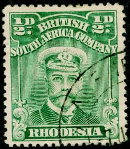 RHODESIA SG203, ½d green, FINE USED, CDS. Cat £23. PERF 15.