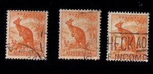 Australia Sc 223a x 3EA  - Kangaroo Org F-VF